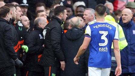 Wootten came face to face with Ipswich boss Paul Lambert during an ugly scuffle as City won 3-0 on d