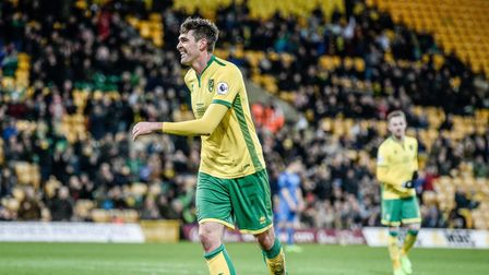 Kyle Lafferty celebrates his first goal for Norwich City U23 v Dinamo Zagreb U23 during the Premier