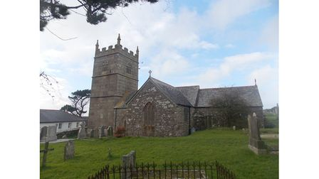 Exterior of St. Senara's Church in Zennor, Cornwall