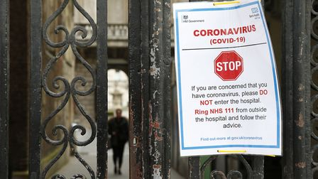A sign on a gate at St Bartholomew's Hospital, London. Photograph: Hollie Adams/PA Wire.