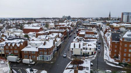 Brentwood, Essex, UK. 9th February 2021. Aerial photographs of Brentwood, Essex, as Storm Darcy cove