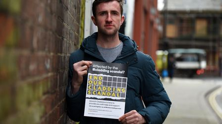 Alex Dickin of the Ipswich Cladiators group, set up to fight cladding scandal of unsafe flats. Pict