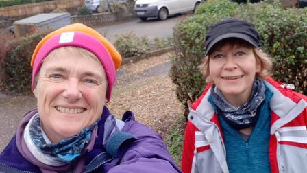 Jo Earlam, left, and Lisette Johnston are litter picking