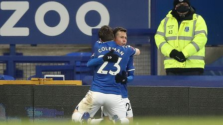 Everton's Bernard (right) celebrates with team-mate Seamus Coleman after scoring their side's fifth