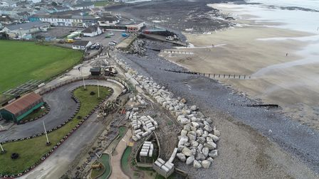 An aerial view of Westward Ho!'s new rock armour