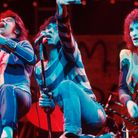 The Sensational Alex Harvey Band perform on stage in1975. From left to right:Chris Glen, Alex Harvey, Zal Cleminson