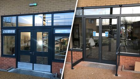 Automatic door installation before and after shot