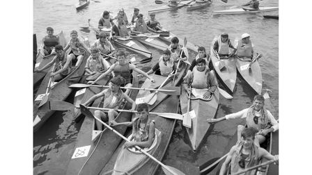 The start of a canoe race at Shotley in July 1966
