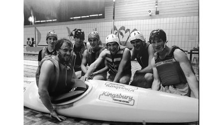 A canoe polo team at Bury St Edmunds Sports Centre in November 1984