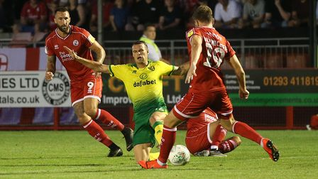 Philip Heise of Norwich in action during the Carabao Cup match at Checkatrade.com Stadium, Crawley