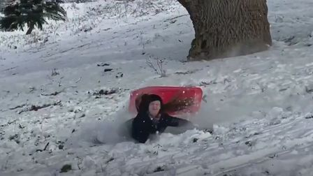 Readers have been sending in their funniest snow videos in Suffolk during Storm Darcy