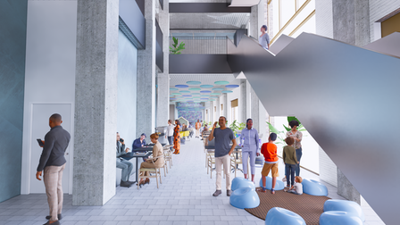Designs of how the the cafe space in the Seven Kings Hub could look like.