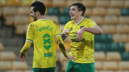 Jordan Hugill of Norwich celebrates scoring his sides 2nd goal during the Sky Bet Championship match