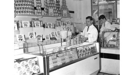 A range of cheeses at Footman's store in Ipswich in 1966