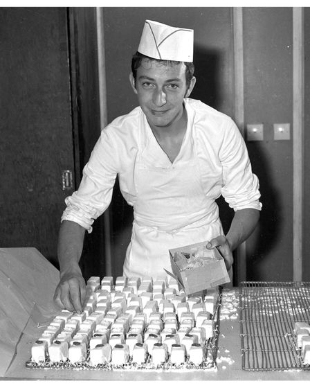 Working in the bakery at Footman's Ipswich in 1966