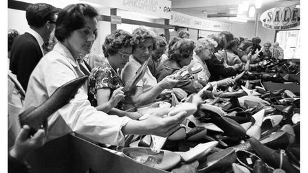 Finding matching shoes at Footman's sale in July 1966.