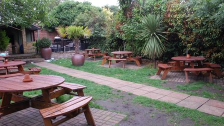 The garden at the King Harold, where Harvey Tyrrell died of electrocution
