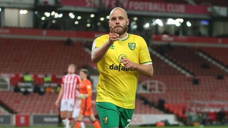 Teemu Pukki of Norwich celebrates scoring his sides 3rd goal during the Sky Bet Championship match a
