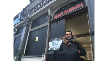 Kastro Pergjoni outside the Cart and Horses, also known as the birthplace of Iron Maiden. Picture: J