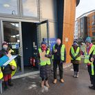 Vaccine volunteers outside the centre at the Uni of Herts in Hatfield