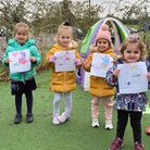 Toddlers at the Ardleigh Green nursey showed off their best drawing tributes to Captain Tom.