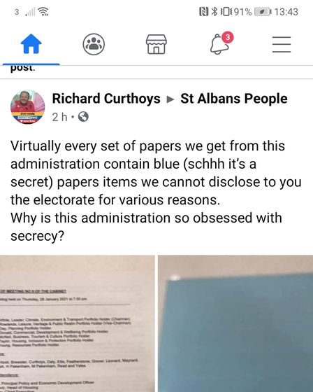Cllr Richard Curthoys' Facebook post on the St Albans People group.