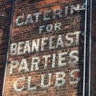 """Catering for Beanfeasts, Parties, Clubs"" in Highgate West Hill, facing over Hampstead Heath"