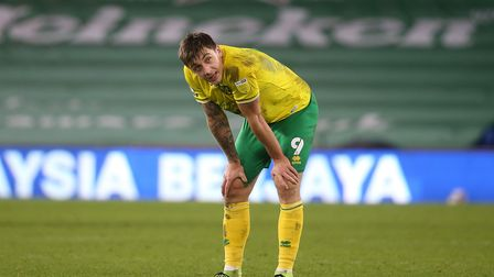 Jordan Hugill of Norwich at the end of the Sky Bet Championship match at the Cardiff City Stadium, C