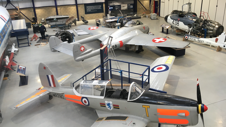 Inside the new Sir Geoffrey de Havilland hangar at the de Havilland Aircraft Museum.