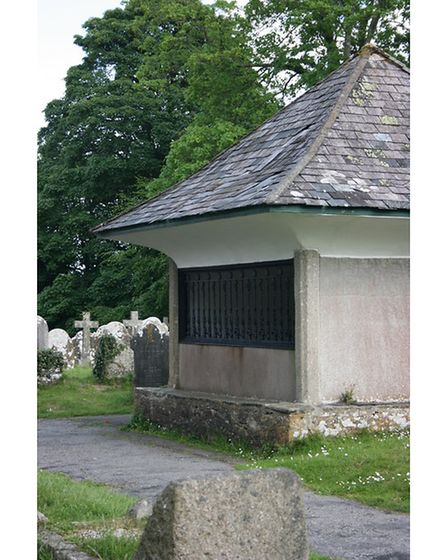 The prison like mausoleum of the evil 17th century squire Robert Cabell
