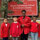 Pupils with their headteacher Jackie Benjamin at Tyssen Community School, which is soon set for a name change