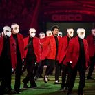 The Weeknd rehearsing for the Super Bowl halftime show
