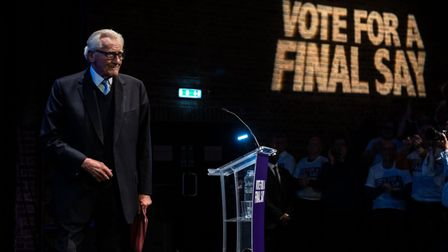 Lord Michael Heseltine speaks at a 'Vote for a Final Say' rally about Brexit