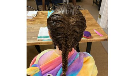 Georgia's hair braiding at St Anthony's School for Girls
