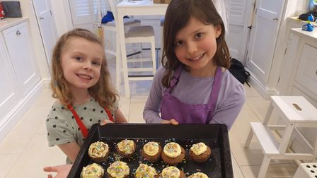 Alice and Hannah with theircupcakes St Anthony's School for Girls
