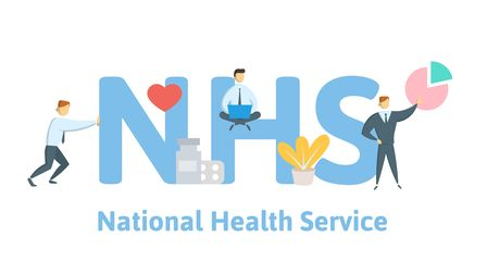NHS, National Health Service. Concept with keywords, letters and icons. Colored flat vector illustra