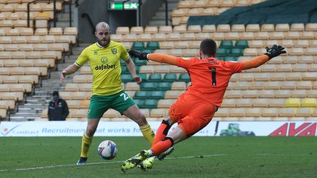 Teemu Pukki of Norwich scores his sides 2nd goal during the Sky Bet Championship match at Carrow Roa