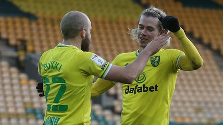 Teemu Pukki of Norwich celebrates scoring his sides 4th goal from the penalty spot during the Sky Be