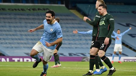Manchester City's Ilkay Gundogan celebrates scoring their second goal of the game during the Premier