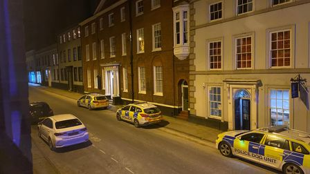 Police operation in St Giles Street in Norwich.