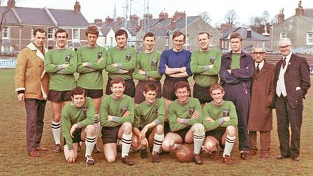 Hotels and Caterers in 1968 - back, from left:Stan Neal,Derek Dodd,Brian Carter,George Loye,Geoff Pearse, John...