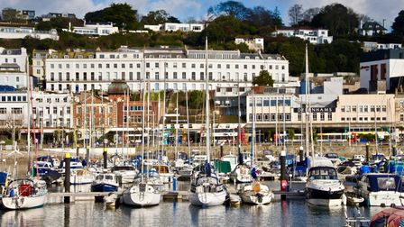 Torquay harbour with street of shops in the background