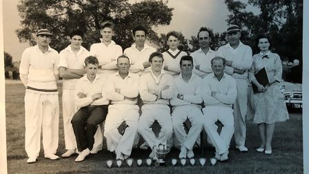 This photo of the Yelling cricket team in 1961 includes:Dick Hall, Roland, Stan, Vincent and Ron Reed, Mick Revell, Hugh and Ruby Topham, Treveor Shepherd and John Burley.