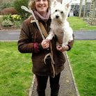 Litter picker Kathy Layzell with Lucky the dog