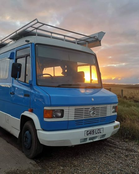 Ernie the big blue bus restored by Norwich teacher Wendy Davison and her husband Rupert which has inspired the story of...