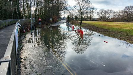 Reader Peter Hagger took this photograph of the floods at Mill Lane in Little Paxton.