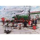 Painting of train and Sally Army hero