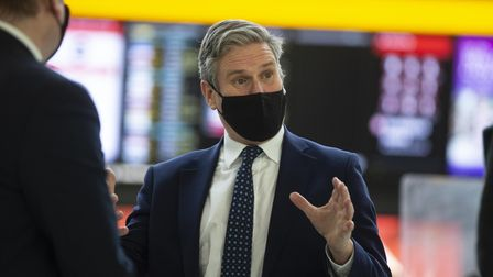 Labour leader Sir Keir Starmer during a visit to Terminal 2 at Heathrow to see the Covid-19 response