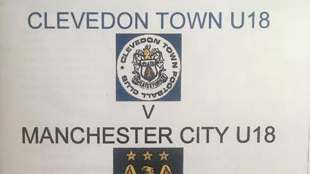 Clevedon Town FA Youth Cup programme against Manchester City