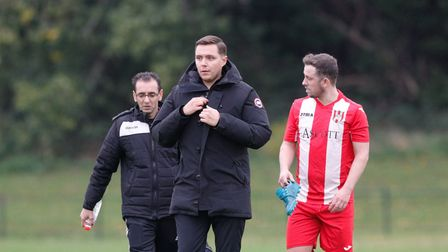 New boss Micky Wetherall in charge of his first match for Clapton (Pic: AZ Images)